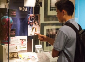 Key Stage 3 pupil explores issues of discrimination, at the National Football Museum. Photo by Chris Payne