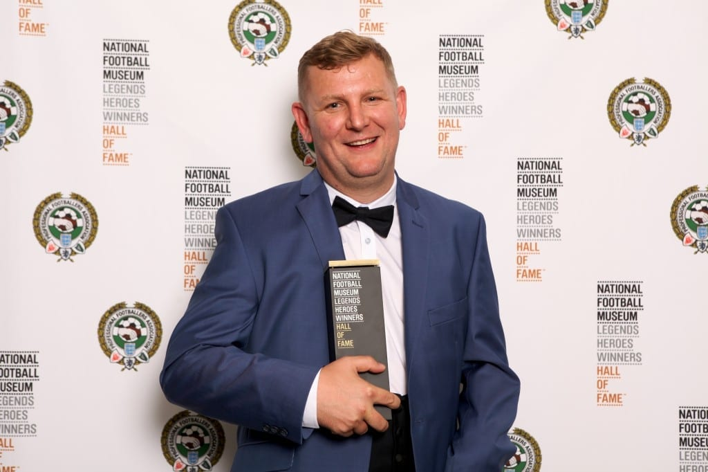 Pictured Gary Davies who received his award at the National Football Museum Hall of Fame Award Evening 2015 Picture: Jason Lock
