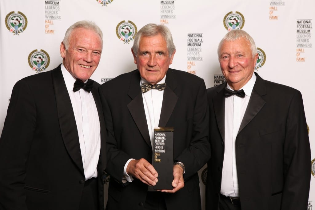 Pictured Eddy Gray with Norman Hunter and Mike Summerbee at the National Football Museum Hall of Fame Award Evening 2015  Picture: Jason Lock