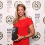Rachel Brown-Finnis with her National Football Museum Hall of Fame award.  Picture © Jason Lock Photography