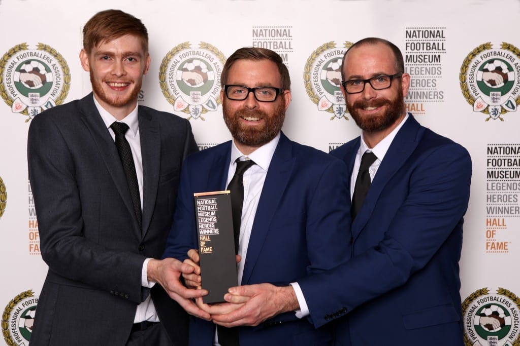 Billy Liddell's grandsons receive his National Football Museum Hall of Fame award.  Picture © Jason Lock Photography