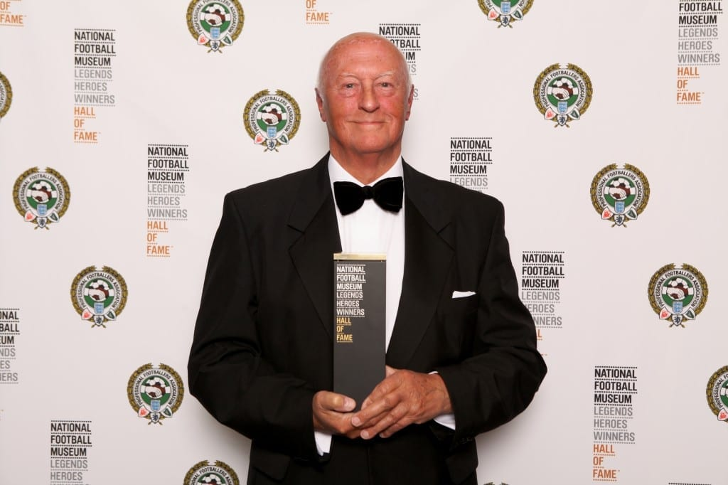 Pictured Bob Crompton with the award for the late Bob Crompton which was collected by his family members with Gordon Taylor and Keith Lee, President of Blackburn Rovers at the National Football Museum Hall of Fame Award Evening 2015 Picture: Jason Lock