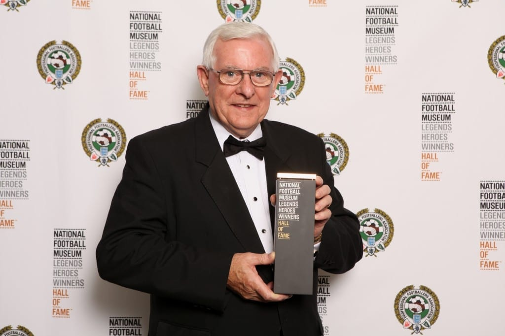 Alan Mullery collecting his award at the National Football Museum Hall of Fame Award Evening 2015 Picture: Jason Lock