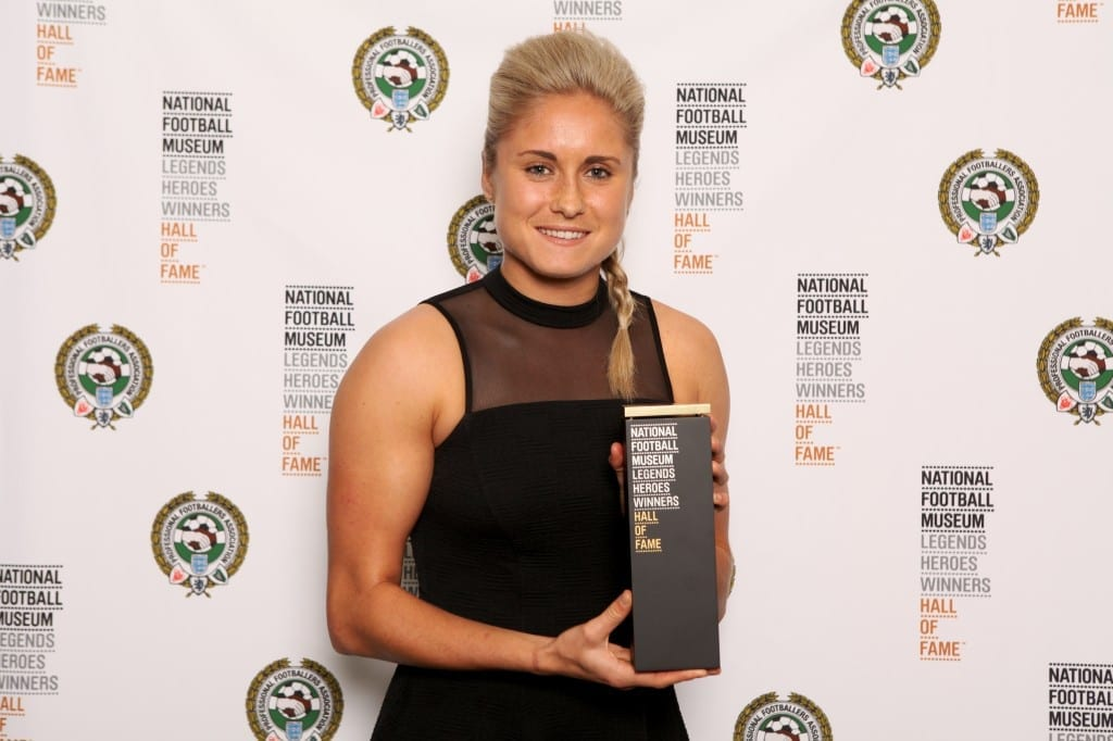 Steph Houghton pictured with the award for Faye White, at the National Football Museum Hall of Fame Award Evening 2015 Picture: Jason Lock