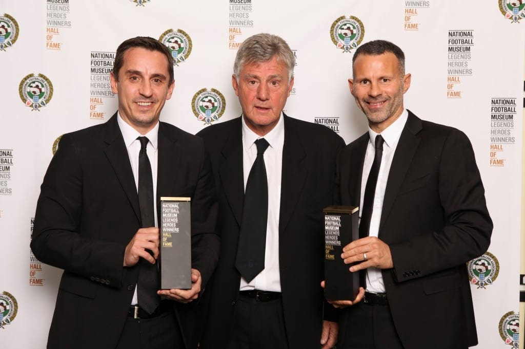 Gary Neville, Brian Kidd and Ryan Giggs at the National Football Museum Hall of Fame Award Evening 2015  Picture: Jason Lock