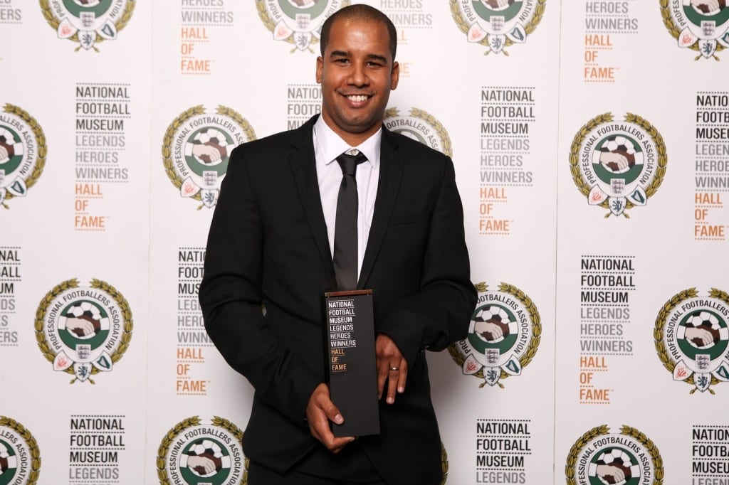 Martin Sinclair with his National Football Museum Hall of Fame award.   Picture © Jason Lock Photography