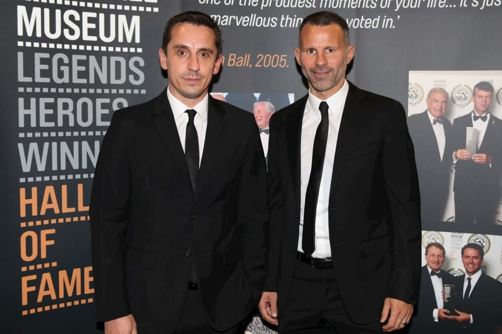 Gary Neville and Ryan Giggs photographed at the National Football Museum Hall of Fame Award Evening 2015 Picture: Jason Lock