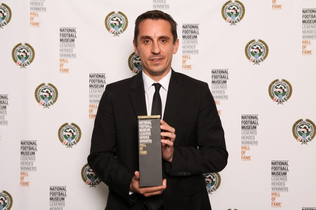 Gary Neville with his award at the National Football Museum Hall of Fame Award Evening 2015  Picture: Jason Lock