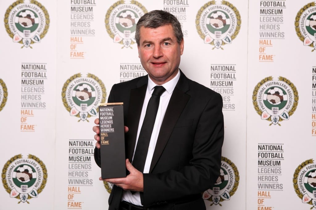 Denis Irwin with his National Football Museum Hall of Fame award.  Picture © Jason Lock Photography