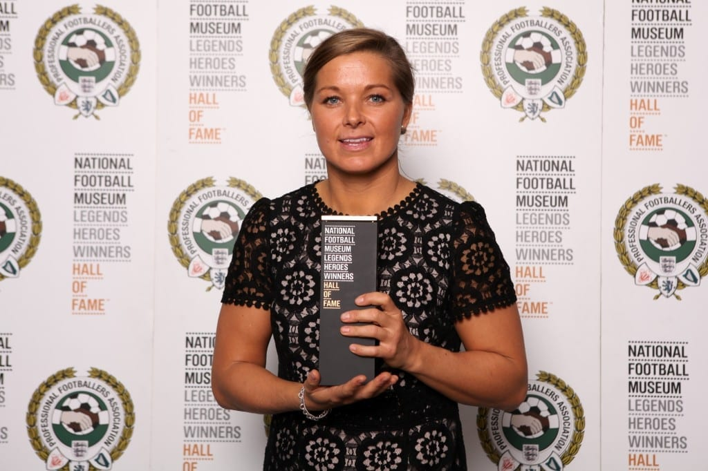 Rachel Unitt with her National Football Museum Hall of Fame award.  Picture © Jason Lock Photography