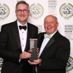 Pro-vice Chancellor Graham Virgo (left) and John Little, Club President receive the historical National Football Museum Hall of Fame Award on behalf of Cambridge University AFC.