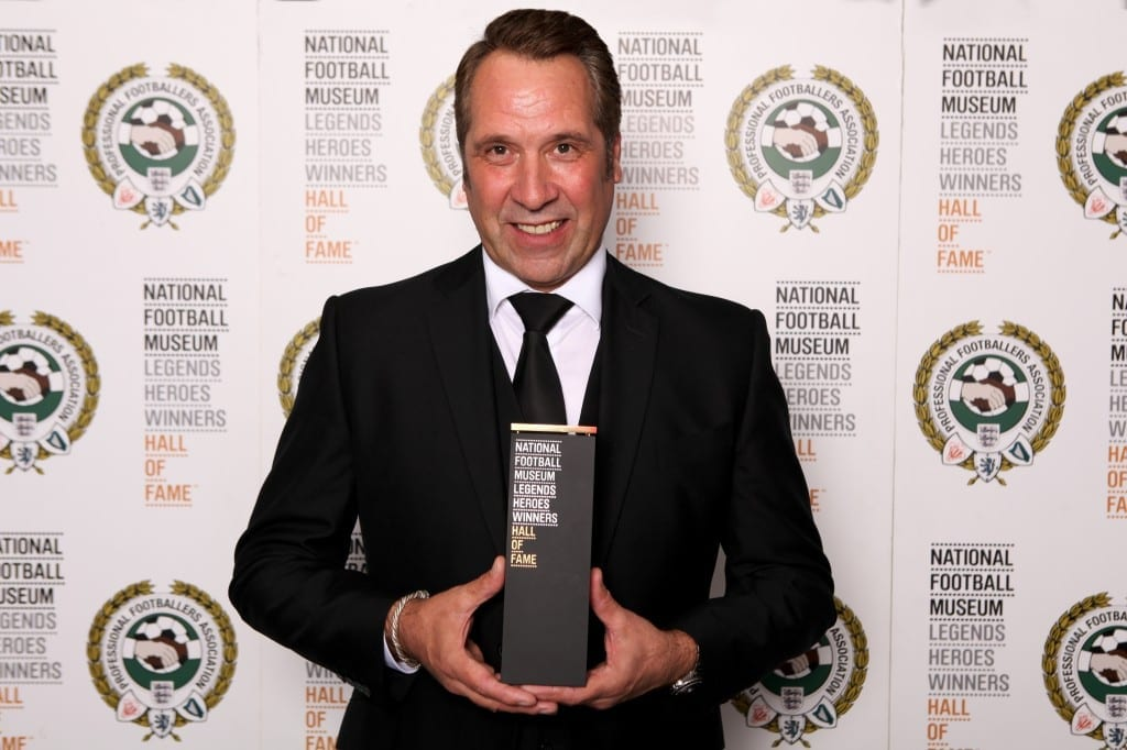David Seaman with his National Football Museum Hall of Fame award.  Picture © Jason Lock Photography