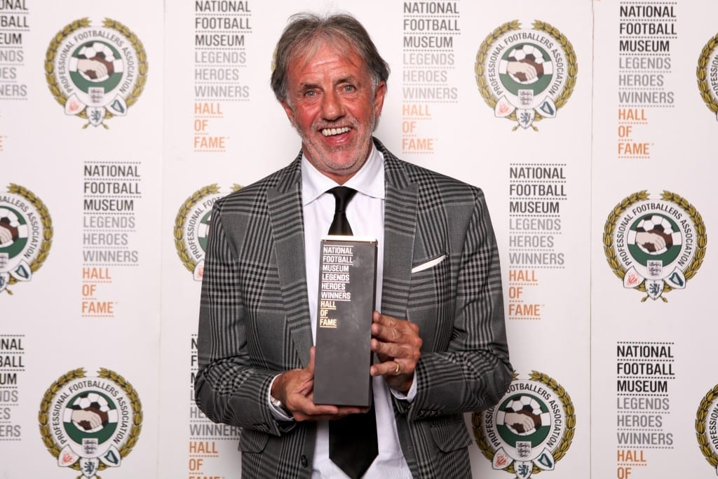 Mark Lawrenson with his National Football Museum Hall of Fame award.  Picture © Jason Lock Photography