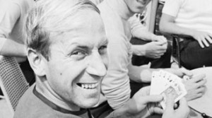 Bobby Charlton relaxes with a game of cards at the England 1966 hotel. Pic courtesy of Mirrorpix