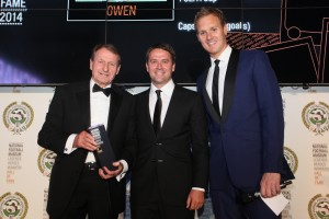 Michael Owen receives his Hall Of Fame award from Roger Hunt, with Dan Walker, 2014. Picture: Karin Albinsson