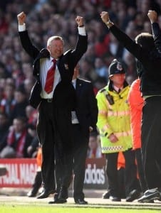 3.3.07.  LIVERPOOL V MANCHESTER UNITED. SIR ALEX FERGUSON CELEBRATES AT THE END. Pic via Mirrorpix