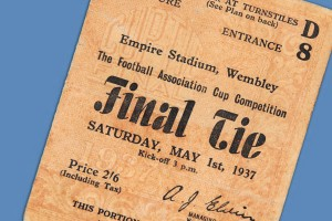 Detail of 1937 FA Cup Final ticket. Get free valuations of your sporting memorabilia here.