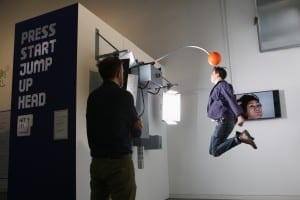 Hit It! Interactive artwork at Pitch To Pixel: The World of Football Gaming Picture © Jason Lock