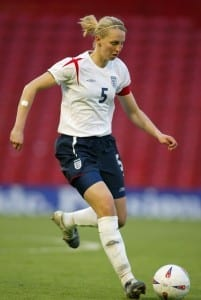 Faye White playing for England. Photo courtesy of The FA