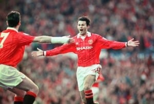 English Premier League match at Old Trafford. Manchester United 3 v Blackburn Rovers 1. United's Ryan Giggs celebrates his goal with teammate Eric Cantona as United win their first league championship since 1967. 3rd May 1993. Image courtesy of Mirrorpix