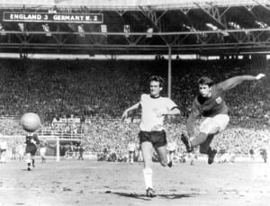 World Cup Final at Wembley Stadium. England 4 v West Germany 2 after extra time. Geoff Hurst fires in England's fourth goal in the dying seconds of extra time to secure their historic win. 30th July 1966. Pic courtesy of Mirrorpix