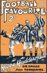 Clem Stephenson (centre) and Huddersfield teammates on the cover of The Football and Sports Favourite, circa 1925