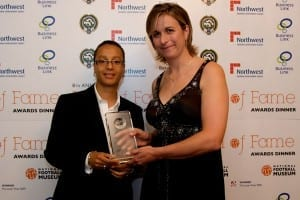 Marieanne Spacey receives her award from Hope Powell at the National Football Museum Hall Of Fame Awards 2009.