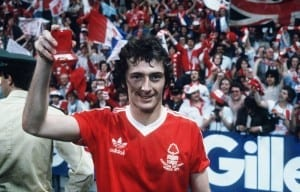 1979 European Cup Final at the Olympic Stadium, Munich. Nottingham Forest 1 v Malmo 0. Forest goalscorer Trevor Francis celebrates with his winners medal after the match. 30th May 1979. Pic by Mirrorpix.