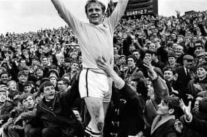 Newcastle Utd v Manchester City 11th May 1968. League Division One match at St James Park.  Francis Lee celebrates a goal cheered by fans.  Final Score Newcastle 3 Manchester City 4. Pic by Mirrorpix