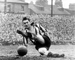 Jackie Milburn in action for Newcastle United Milburn's pace and shooting power were renowned. In full flow he was a thrill to watch. Pic via Mirrorpix.