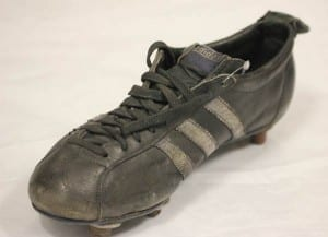 Boot worn by Bobby Moore at 1966 World Cup.