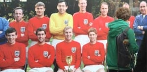 Photos like this, featured in the 1966 World Cup Exhibition, show England's World Cup winners posing with what is now known to be the replica trophy. The players themselves were not aware of the exchange.