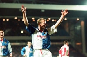 Blackburn v Arsenal league match at Ewood Park, Wednesday 8th March 1995. Blackburn's Alan Shearer celebrates after scoring goal, team mate Chris Sutton in background. Final score: Blackburn 3-1 Arsenal. Pic via Mirrorpix