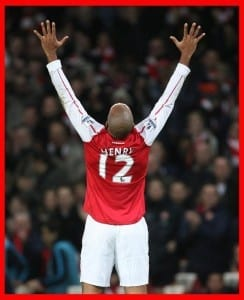 Arsenal's former player and new loan signing Thierry Henry scores on his first game back during the English FA Cup 3rd round  between Arsenal and Leeds United at the Emirates Stadium in London, 09 January 2012.  Pic via Mirrorpix.