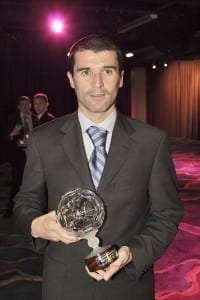 Roy Keane collects his National Football Museum Hall Of Fame award in 2004.