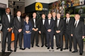 Sylvia Gore with fellow Hall Of Fame inductees Patrick Vieira, Alan Shearer, Trevor Francis, Roger Hunt, Sir Bobby Charlton, Sir Trevor Brooking, Jimmy McIlroy, Michael Owen and Head of the PFA Gordon Taylor.