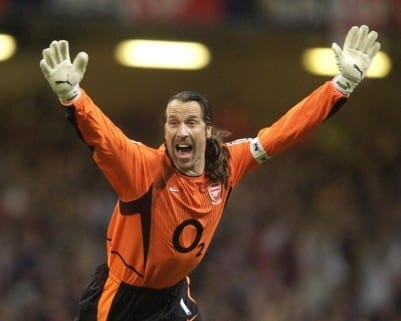 FA Cup Final at the Millennium Stadium in Cardiff Arsenal v Southampton Arsenal captain David Seaman celebrates the winning goal from Robert Pires. 17th May 2003.