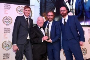 National Football Museum Hall of Fame evening 2016. Ian Callaghan with Andrew, Stephen and Tim Liddell. Picture: Karin Albinsson