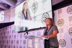 National Football Museum Hall of Fame evening 2016; host Clare Tomlinson. Picture: Karin Albinsson