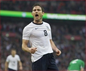 Frank Lampard celebrates another goal for England. Pic courtesy of Mirrorpix.