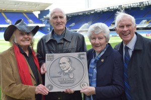 Artist Paul Trevillion presenting the Alf Ramsey Football Walk Of Fame plaque at Portman Road, alongside (l-r) Andy Nelson, Pat Godbold & Ray Crawford.