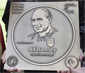Football Walk Of Fame plaque depicting Sir Alf Ramsey, by Paul Trevillion.