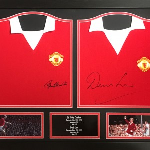 denis law & bobby Charlton double shirt frame