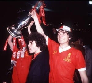 Alan Hansen lifting the first of three European Cups. Pic courtesy of Mirrorpix.