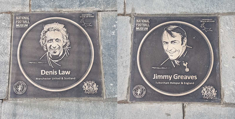 The Denis Law and Jimmy Greaves Walk of Fame plaques, drawn by renowned artist Paul Trevillion.