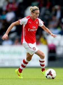 Arsenal and England's legendary goal-getter Kelly Smith, in action for the Gunners. (Image via the FA)