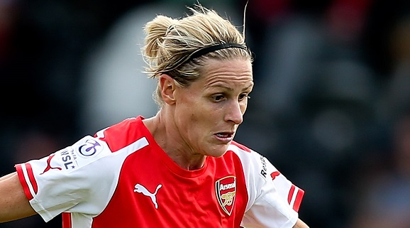 BOREHAMWOOD, ENGLAND - SEPTEMBER 07: Kelly Smith of Arsenal in action during the FA WSL Continental Cup Semi Final match between Arsenal Ladies and Notts County Ladies at Meadow Park on September 7, 2014 in Borehamwood, England. (Photo by Ben Hoskins - The FA/The FA via Getty Images)
