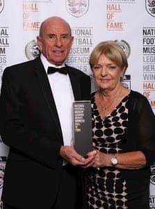 Roger and Carol Speed collect son Gary's Hall of Fame award. (Picture: Jason Lock/Ben Blackall)