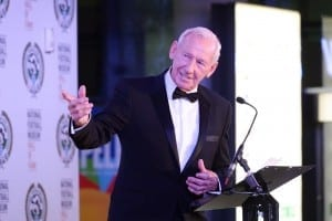 Arsenal goalkeeper Bob Wilson on stage accepting his award. (Picture: Jason Lock/Ben Blackall)