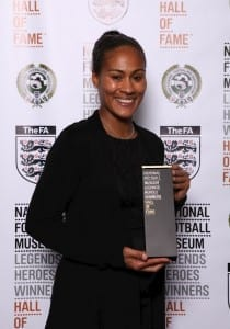 England and Arsenal Women winger Rachel Yankey with her award. (Picture: Jason Lock/Ben Blackall)